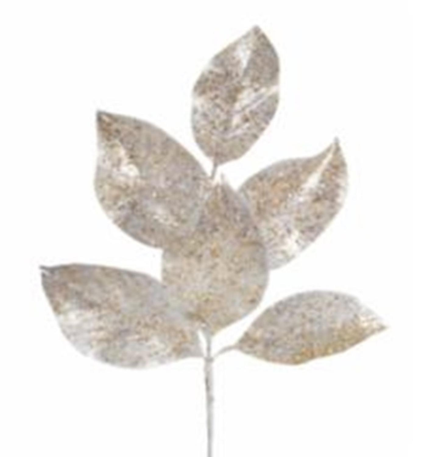 """Club Pack of 12 Gold and Silver Glittered Artificial Magnolia Sprays 19"""""""