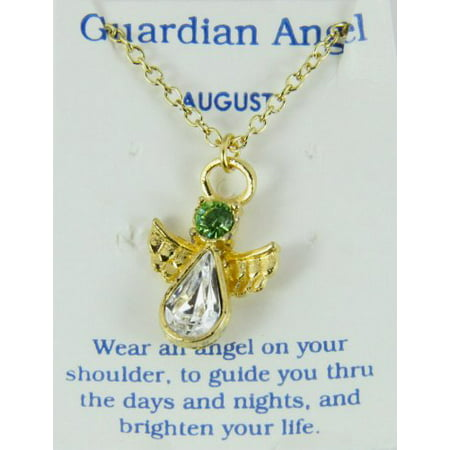 August Birthstone Angel Necklace Pendant Guardian Secret Appreciation...