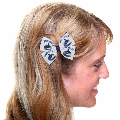 Vancouver Canucks 2-Tone Pinwheel Hair Bow - White/Navy Blue - No Size