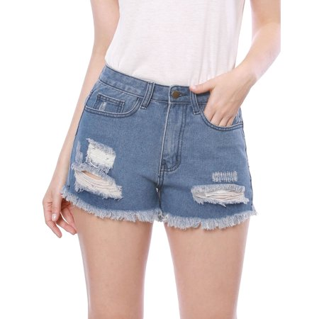 f2e399961f Women Destroyed Raw Hem Washed Ripped Denim Shorts Jeans Blue M (US 10)