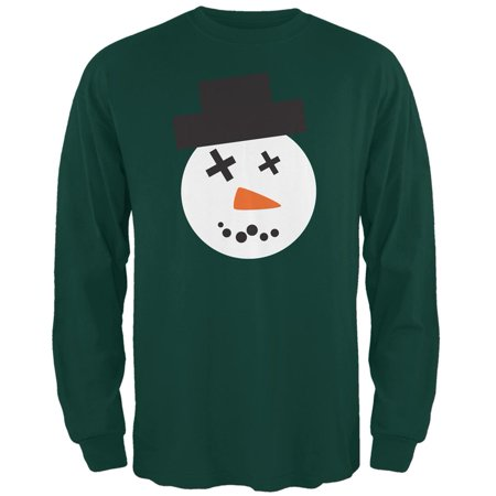 Snowman Face Ugly Christmas Sweater Forest Adult Long Sleeve - Adult Snowman