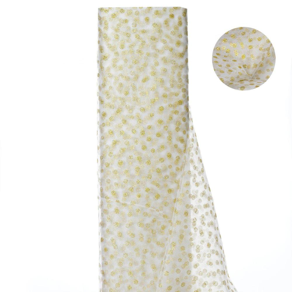 Glittered Polka Dot Tulle Fabric White/Gold 54 x 15 Yards