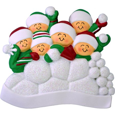 Snowball Fight 6 People Personalized Christmas Ornament -