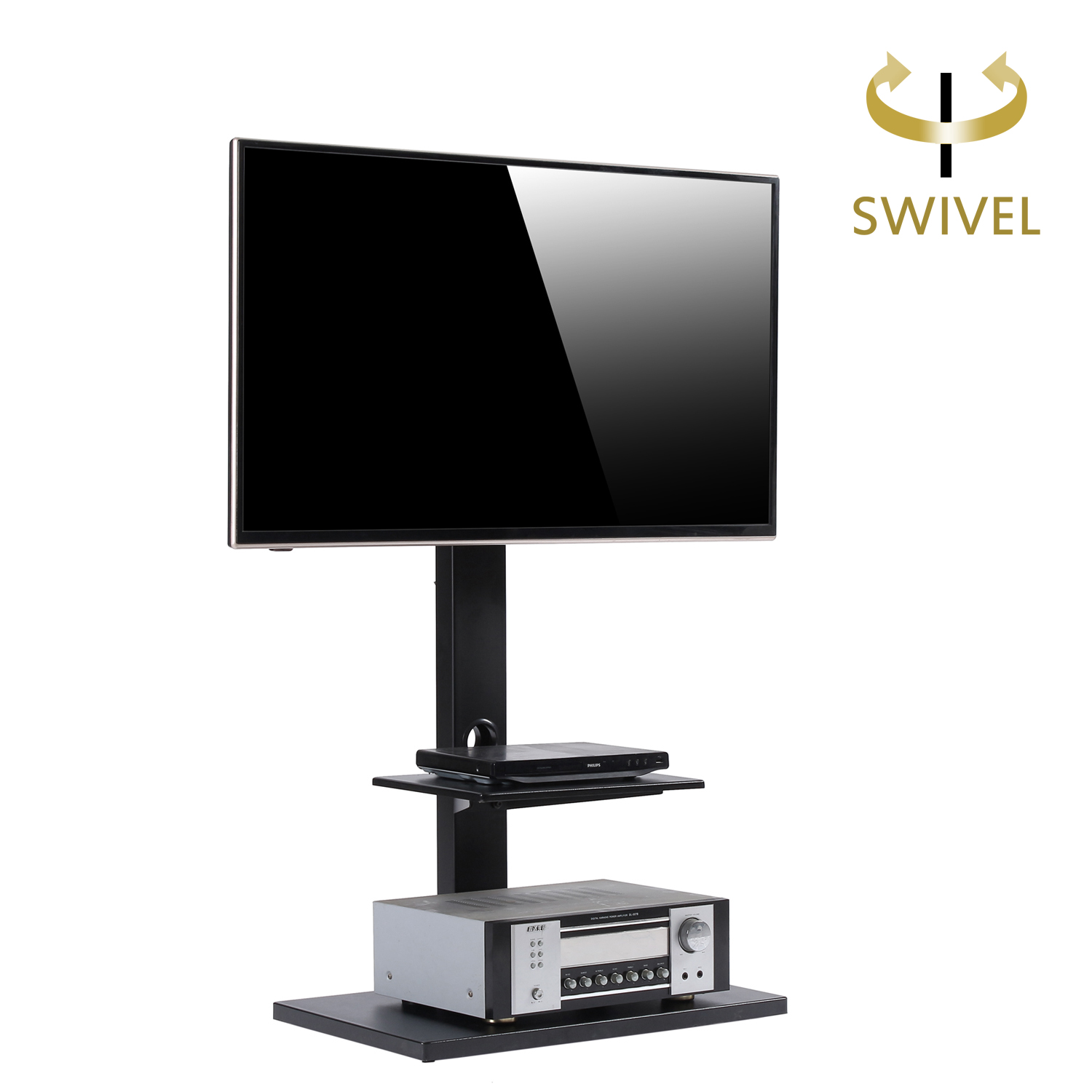 RFIVER Floor TV Stand With Swivel Mount, Two Shelves For 32 To 65 Inch TVs