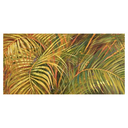 """Masterpiece Art Gallery Tropical Leaves Light by Darrell Hill Canvas Art Print 24"""" x 48"""""""