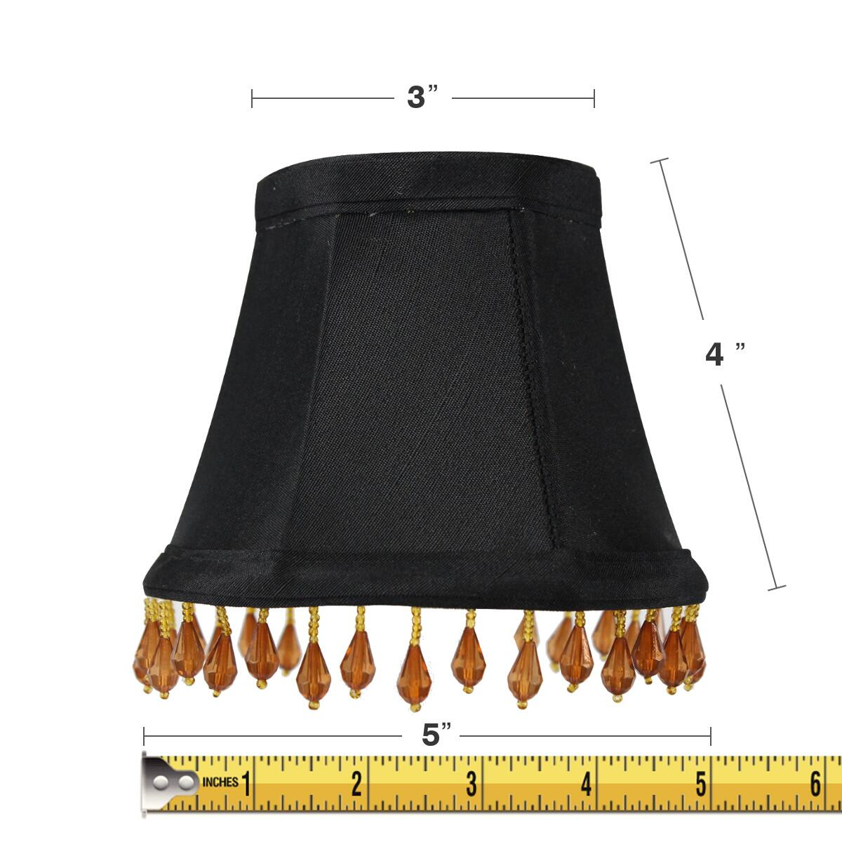 3x5x4 Candelabra Stretch with Gold Liner Amber Beads Clip-On Lampshade