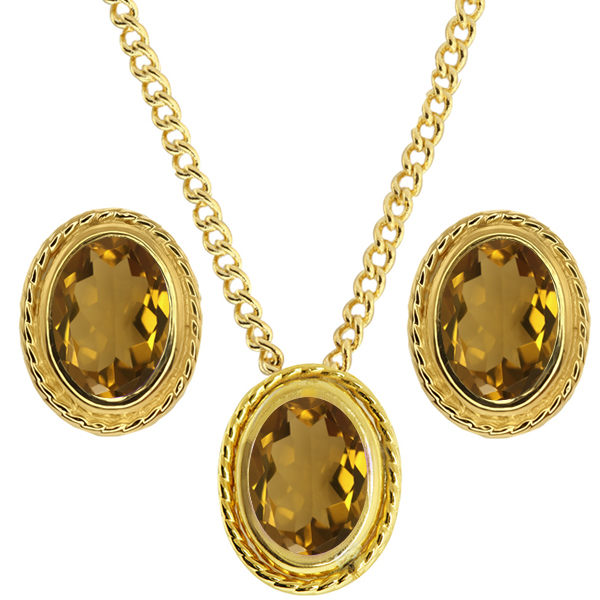 2.10 Ct Oval Whiskey Quartz 925 Yellow Gold Plated Silver Pendant Earrings Set
