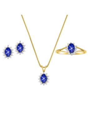 Product Image Blue Star Sapphire & Diamond Pendant, Earrings & Ring Set in 14K Yellow Gold Plated