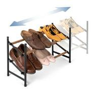 Juvale 2-Tier 12 Pair Shoe Rack Organizer for Entryway Closet Floor, 24-45 inch Expandable, Black & Oak Grain Metal
