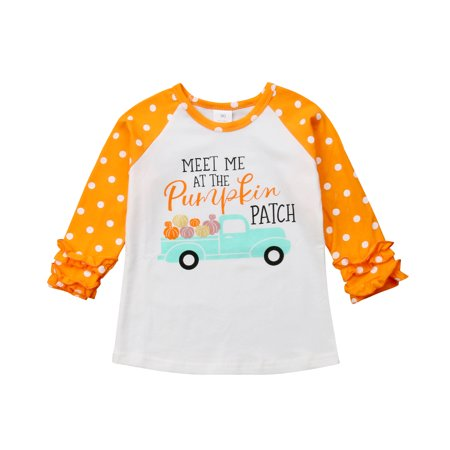 Little Baby Girls Long Sleeve Halloween T-Shirt Pumpkin Car Holiday Raglan Ruffle Tops (2-3T, Or](Top Baby Games Halloween)