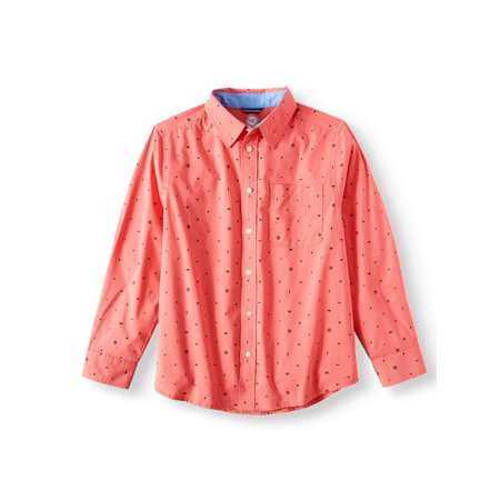 Long Sleeve Stretch Geometric Button Up Shirt (Little Boys, Big Boys, & (Boys Long Sleeve Denim Shirt)