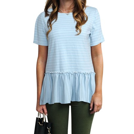 Nlife Women Short Sleeve Round Neck Striped Peplum (Best Striped T Shirt)