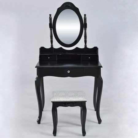 Fabulous Belleze Vanity Set Vintage Style Table Makeup Desk With Mirror And Stool Bedroom Black Machost Co Dining Chair Design Ideas Machostcouk