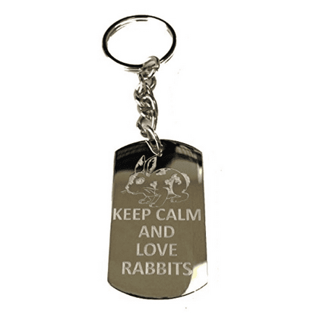 Keep Calm and Love Rabbits Cute Bunny - Metal Ring Key Chain Keychain](Real Rabbit Foot Keychain)