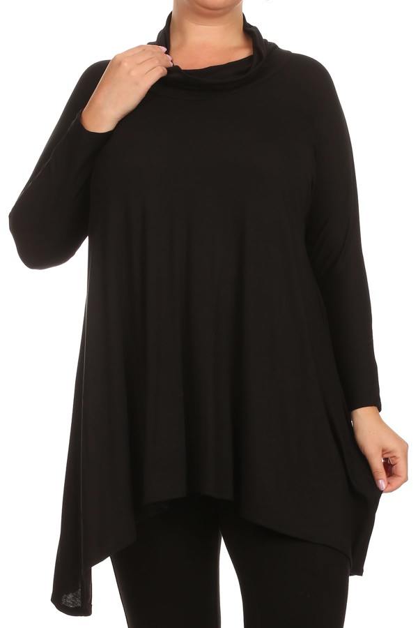 Women's PLUS trendy style , long sleeve solid tunic top.