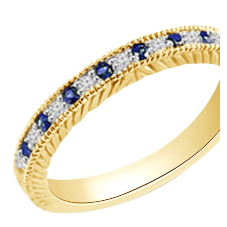 (0.2 cttw) Simulated Blue Sapphire & White Natural Diamond Antique Style Wedding Band Ring In 14k Yellow Gold