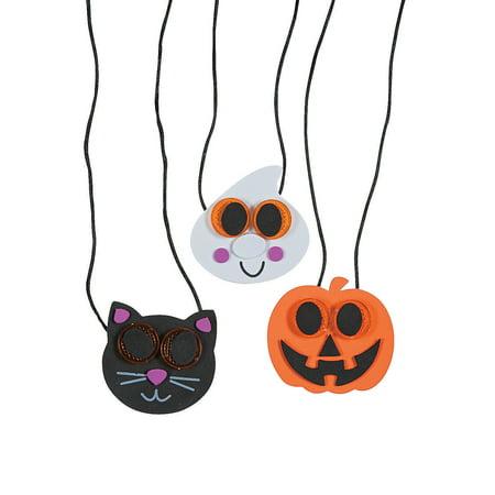 Fun Halloween Crafts For Kids (Fun Express - Halloween Reflector Necklace Craft Kit for Halloween - Craft Kits - Kids Jewelry Craft Kits - Kids Necklace - Halloween - 12)