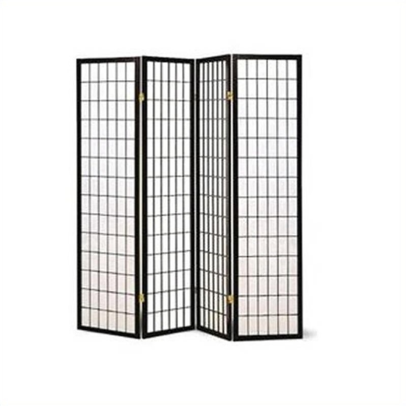 Coaster Four Panel Screen Room Divider in Black