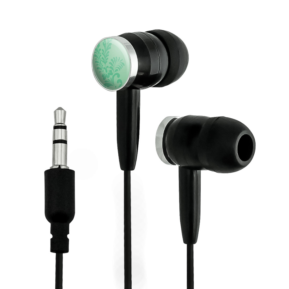Floral Motif Mint Green Novelty In-Ear Earbud Headphones