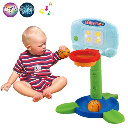 (Basketball Hoop for Kids Toddlers, Infant 2 in 1 Sports Toy Set, with Light and Music Sound Effect, Baby Electronic Interactive Learning Toy, 18 Months Above, Battery Included)