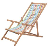 LYUMO Folding Beach Chair Fabric and Wooden Frame Multicolor