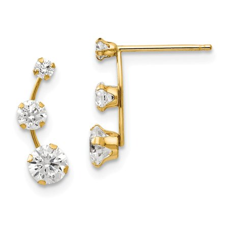 14k Yellow Gold Curved 3 Stone Cubic Zirconia Stud Earrings