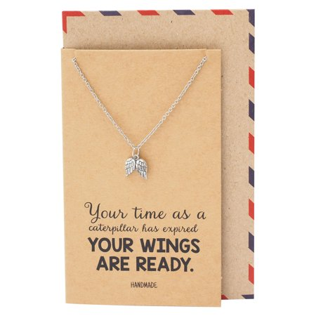 06acc3f8b Quan Jewelry - Quan Jewelry Angel Wings Necklace, Perfect Graduation Gifts  with Inspirational, Believe in Yourself Quote - Walmart.com