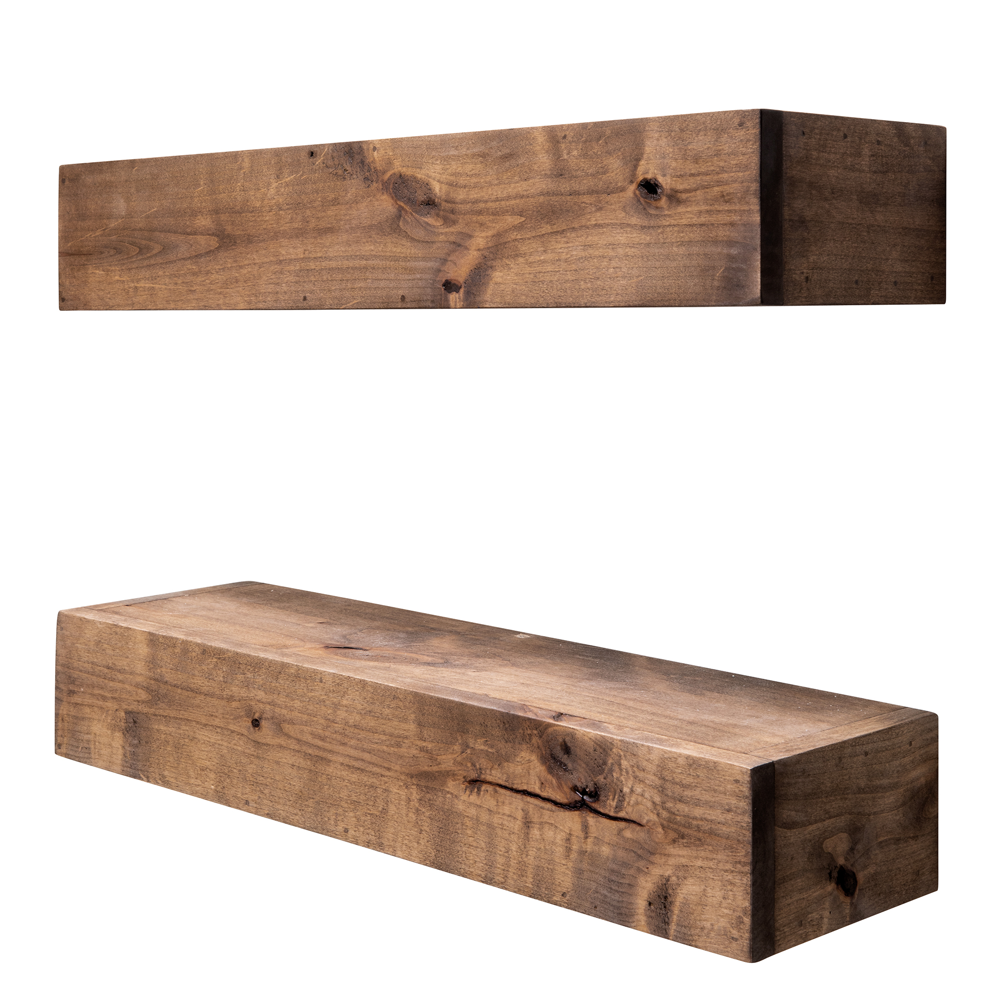 Drakestone Designs Farmhouse Floating Shelf 24 Inch Walnut Finish Set Of 2 Walmart Com Walmart Com