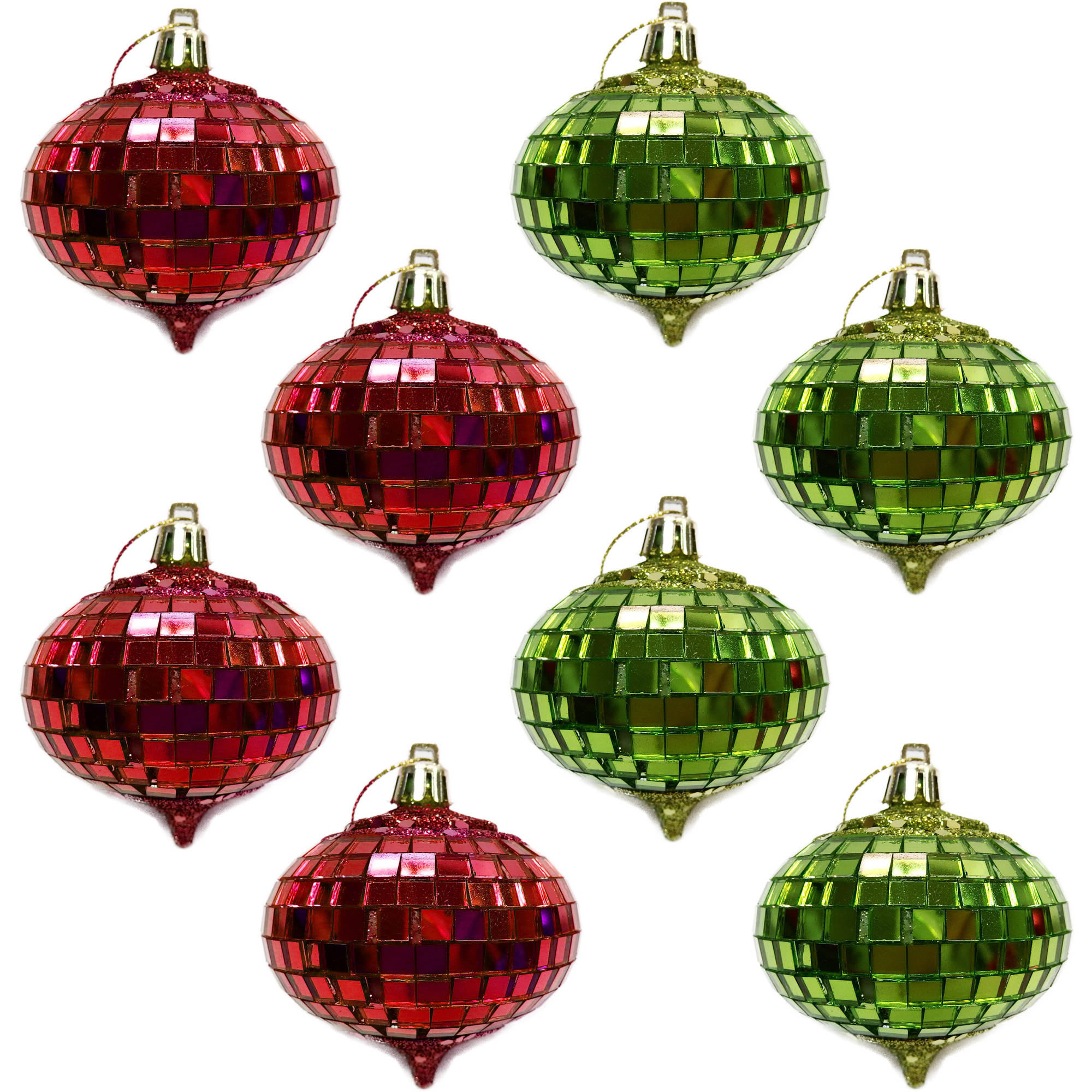 Holiday Time Red and Lime Glitter and Mirror Onion Christmas Ornaments, Set of 8