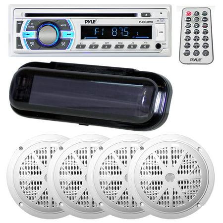 Pyle Marine Bluetooth Stereo Radio Headunit Receiver, Dual 5.25-Inch Waterproof Marine Speakers, 2-Way Full Range, 100W and Water Resistant Radio Shield