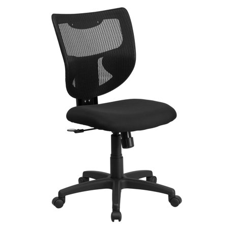 A Line Furniture Lutea Black Mesh Armless Designer Back Swivel Office Chair with Padded Fabric Seat Designer Black Fabric Seat