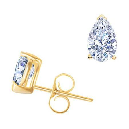 Harry Chad HC11774 1.50 CT Beautiful Diamond Studs Earring - Yellow Gold Pushback, Color F - VS1 Clarity