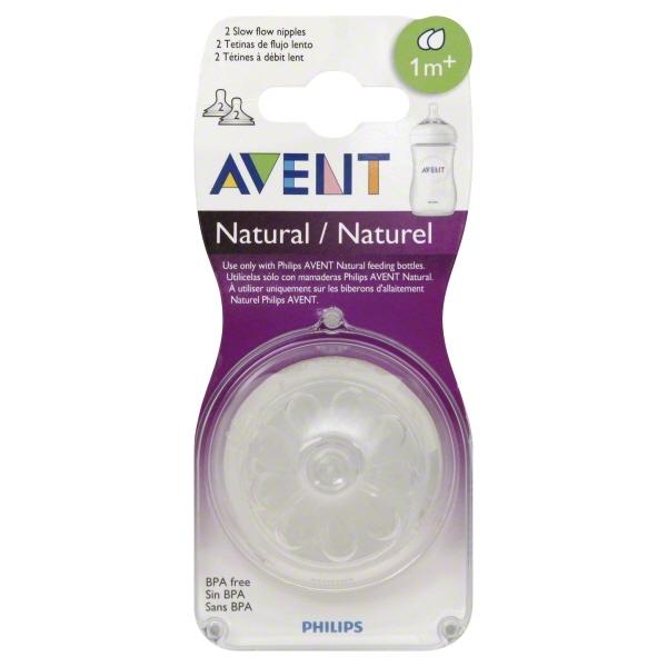 Philips Avent Natural Slow Flow Nipple for Avent Natural Bottles, 1 Month+, 2-Pack, BPA-Free