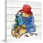 Paddington Bear Reading is Fun Art Print on White Pine Wood