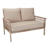 Better Homes & Gardens Meadow Lake Patio Wicker Loveseat with Beige Cushions