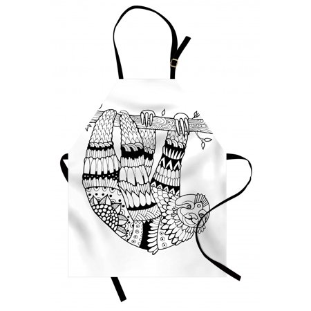 Sloth Apron Sloth Figure with Artistic Ornamental Details Tropical Animal in Ethnic Tribal Style, Unisex Kitchen Bib Apron with Adjustable Neck for Cooking Baking Gardening, Black White, by Ambesonne ()