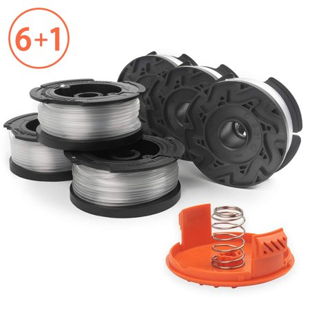 "Reactionnx String Trimmer Spools Compatible with Black Decker AF-100 Weed Eater Spools Refills Line Autofeed 30ft 0.065"" GH600 GH900 Edger with RC-100-P Spool Cap Covers (6 Spools, 1 Cap,1"