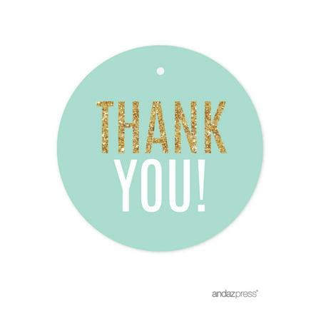 Signature Light Aqua, White, Gold Glittering Party, Round Circle Gift Tags, Thank You! - Aqua Brass Round Basin