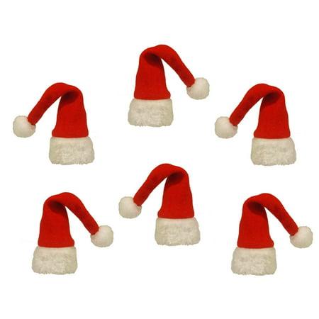 Christmas Wine Bottle Santa Hat Toppers, Set of 6