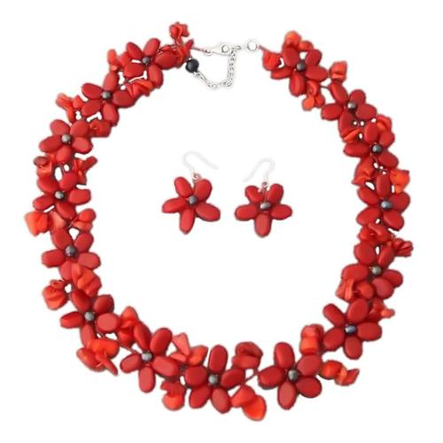 Aeravida Handmade Red Coral and Black Pearl Flower Jewelry Set (3-10 mm) (Thailand) by Overstock