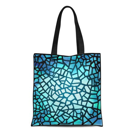 LADDKE Canvas Tote Bag Beautiful Blue Stained Glass Window Magic Suns Rays Penetrating Durable Reusable Shopping Shoulder Grocery Bag (Ray Ban Shopping)