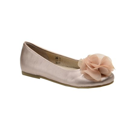 Pazitos Girls Champagne Silk Flower Ballerina Flats