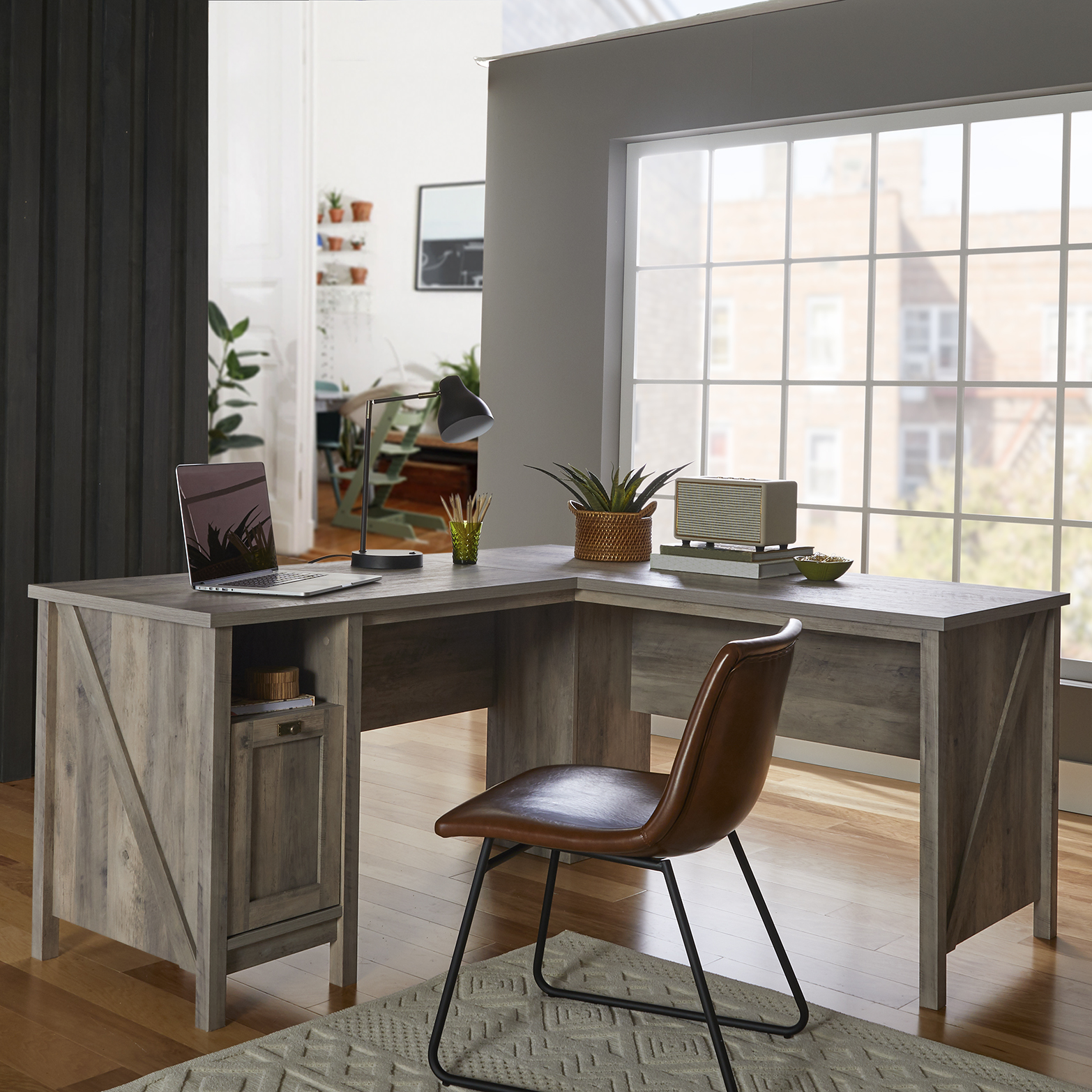 Image of: Better Homes Gardens Modern Farmhouse L Desk Rustic Gray Finish Walmart Com Walmart Com