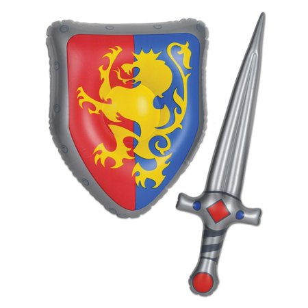 Club Pack of 12 Inflatable Sword and Lion Crested Shield Medieval Party Favors 25