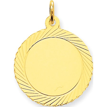 Leslies Fine Jewelry Designer 14k Yellow Gold Etched Design .018 Gauge Circular Engravable Disc (19x26mm) Pendant Gift
