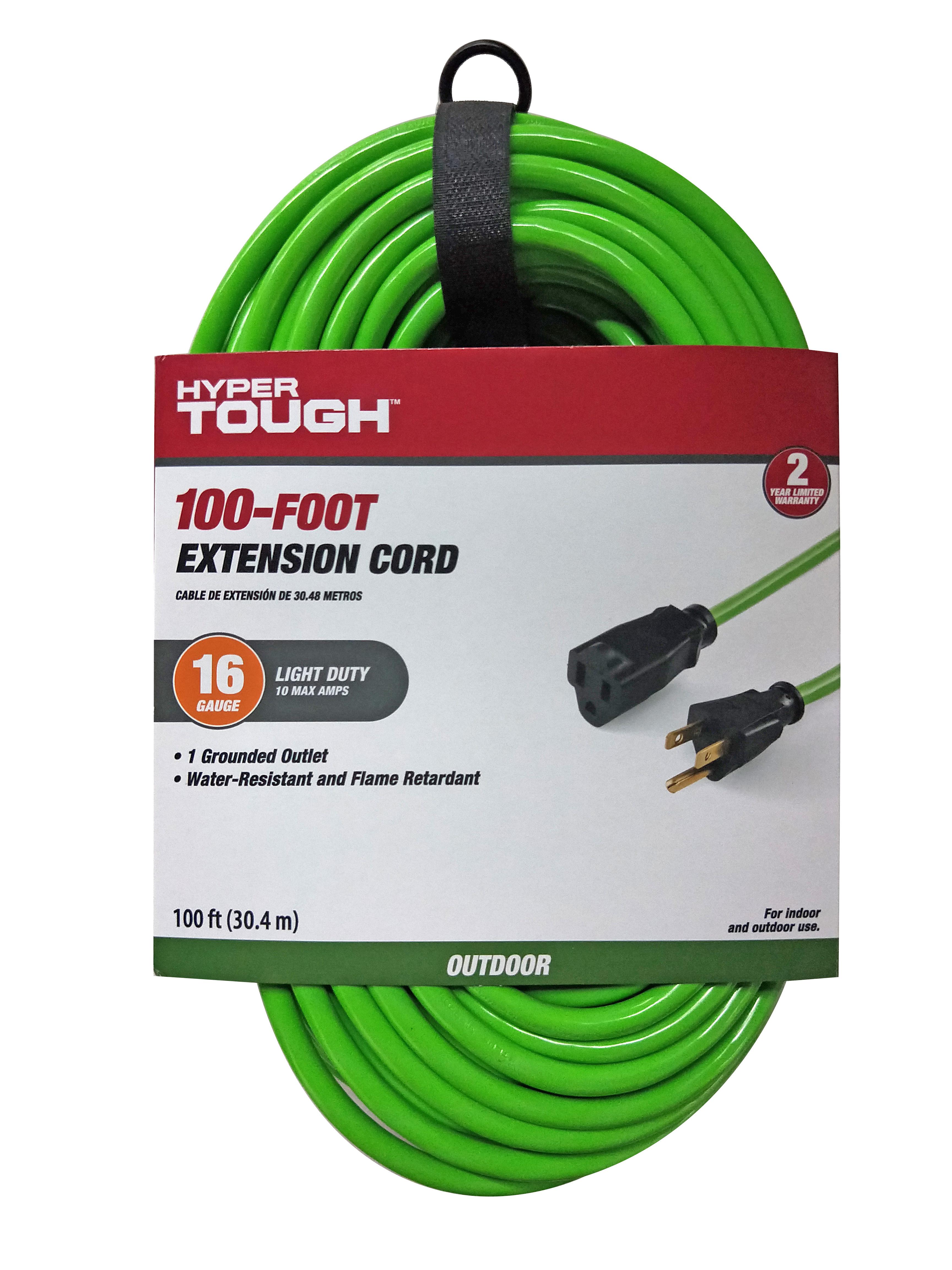 Hyper Tough 100FT 16/3 Extension Cord Orange For Outdoor use - Walmart.com