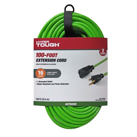 Hyper Tough 100FT 16/3 Extension Cord Hi-Vis Green For Outdoor use