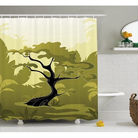 Olive Green Shower Curtain Japanese Tree In Jungle Abstract Nature Summer Season Fabric