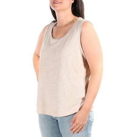CALVIN KLEIN Womens Beige Sleeveless Scoop Neck Top Size L