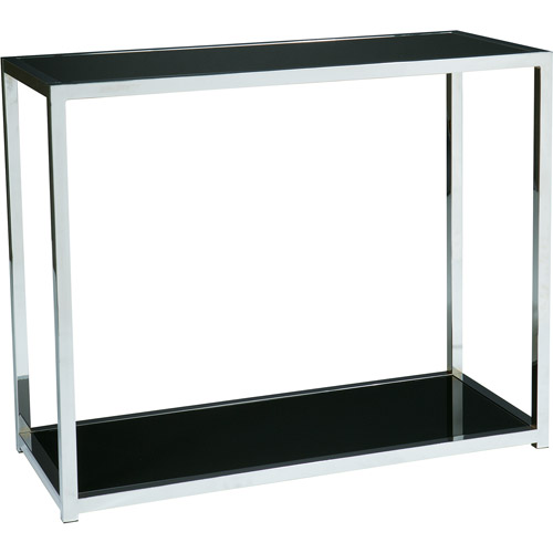 Avenue Six Yield Foyer Table. Chrome and Black Glass
